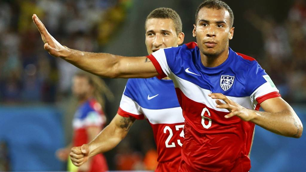 John Brooks of the U.S. celebrates his goal against Ghana