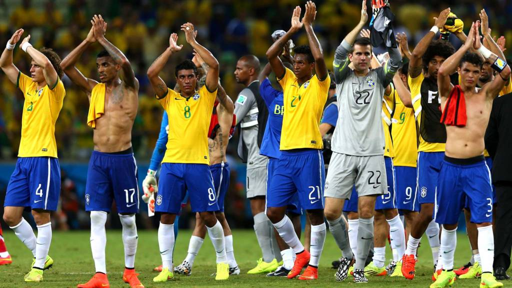 Brazil players acknowledge the fans