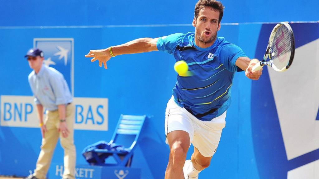 Spain's Feliciano Lopez in action at Eastbourne