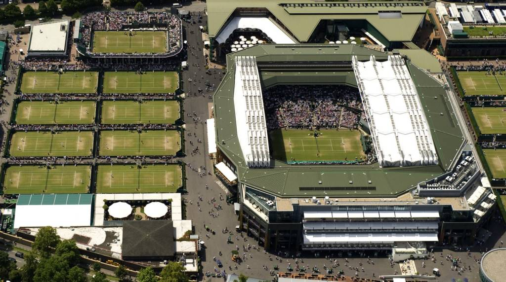An aerial shot of Wimbledon