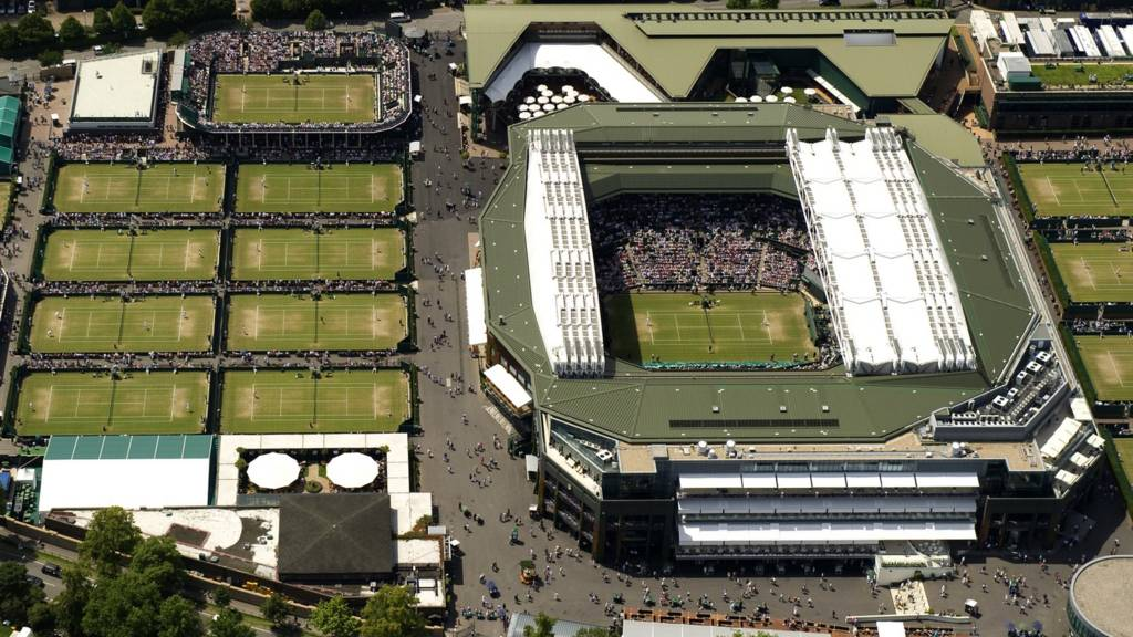An aerial view of the Wimbledon Championships