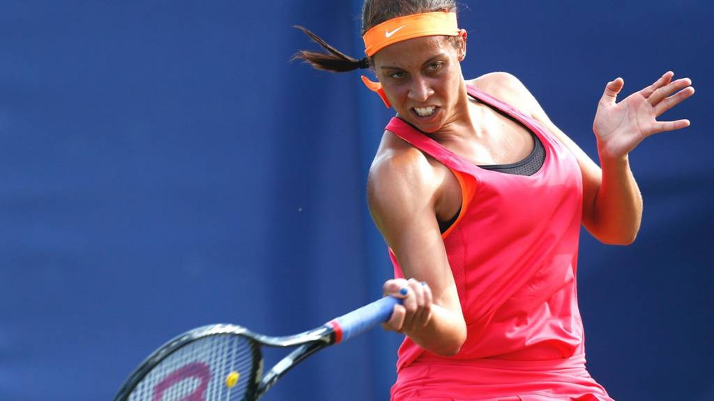 USA's Madison Keys in action at Eastbourne