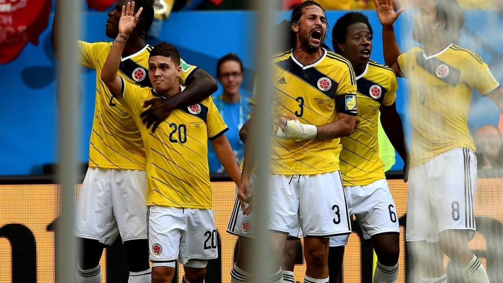 Colombia celebrate their win over Ivory Coast