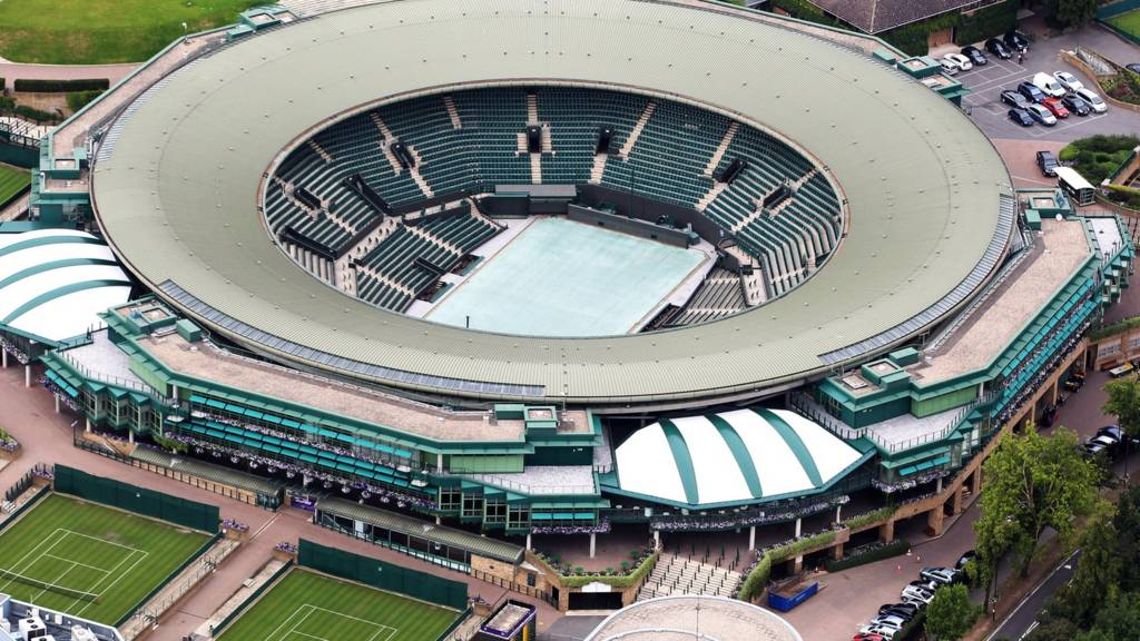 An aerial view of Court One at Wimbledon
