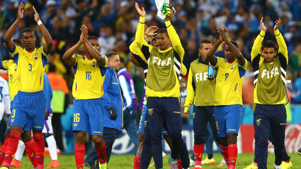 Ecuador acknowledge the fans at full time