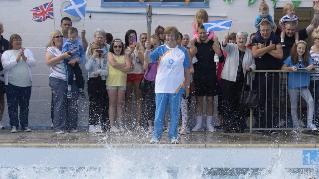 New Cumnock open-air pool baton relay event