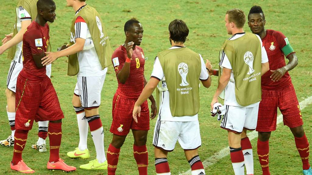 Ghana and German players at full time following their match betwen the two nations