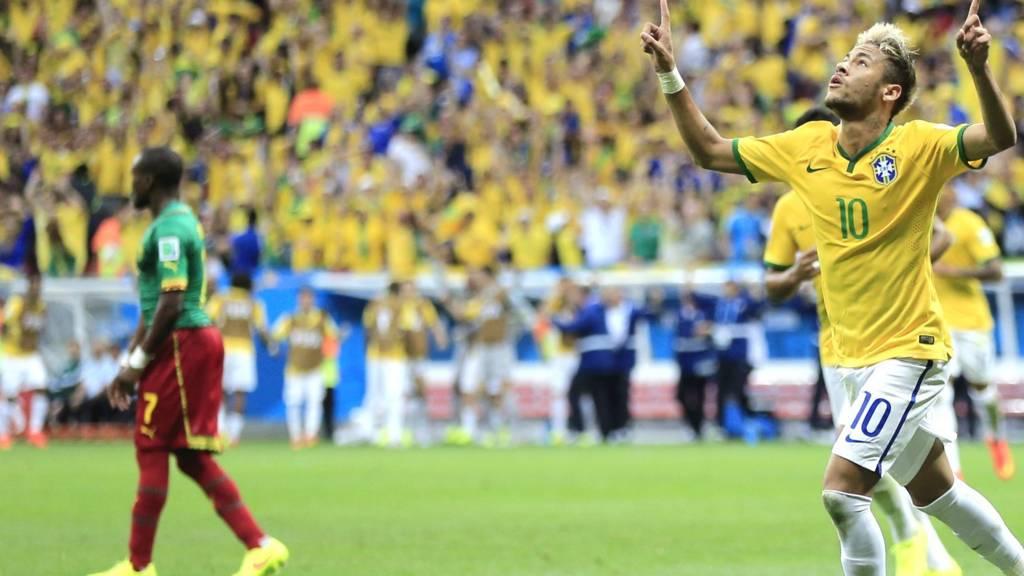 Neymar celebrates for Brazil
