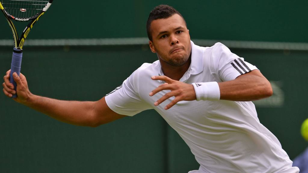 Jo-Wilfried Tsonga in action at Wimbledon
