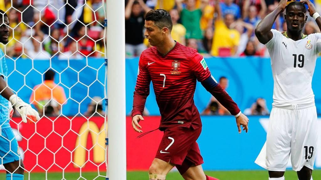 Christiano Ronaldo watches Ghana score an own goal