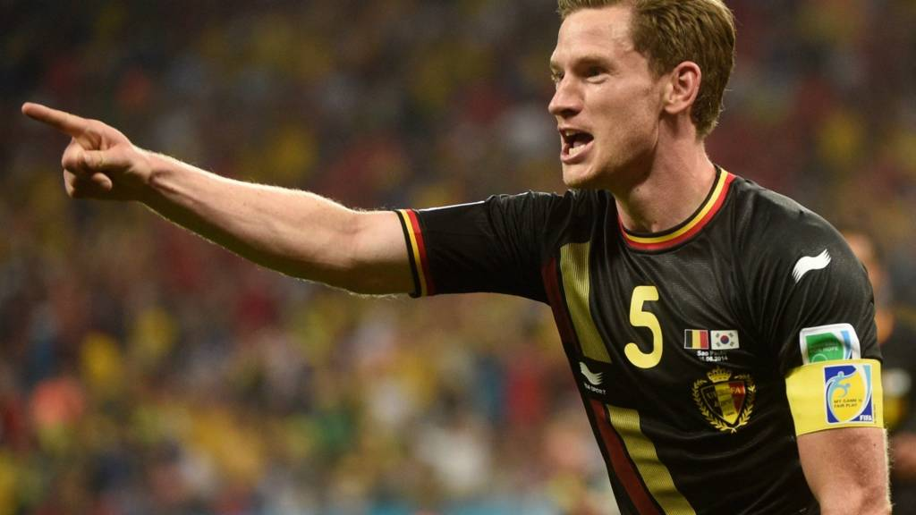 Jan Vertonghen of Belgium celebrates after scoring his side's first goal against South Korea