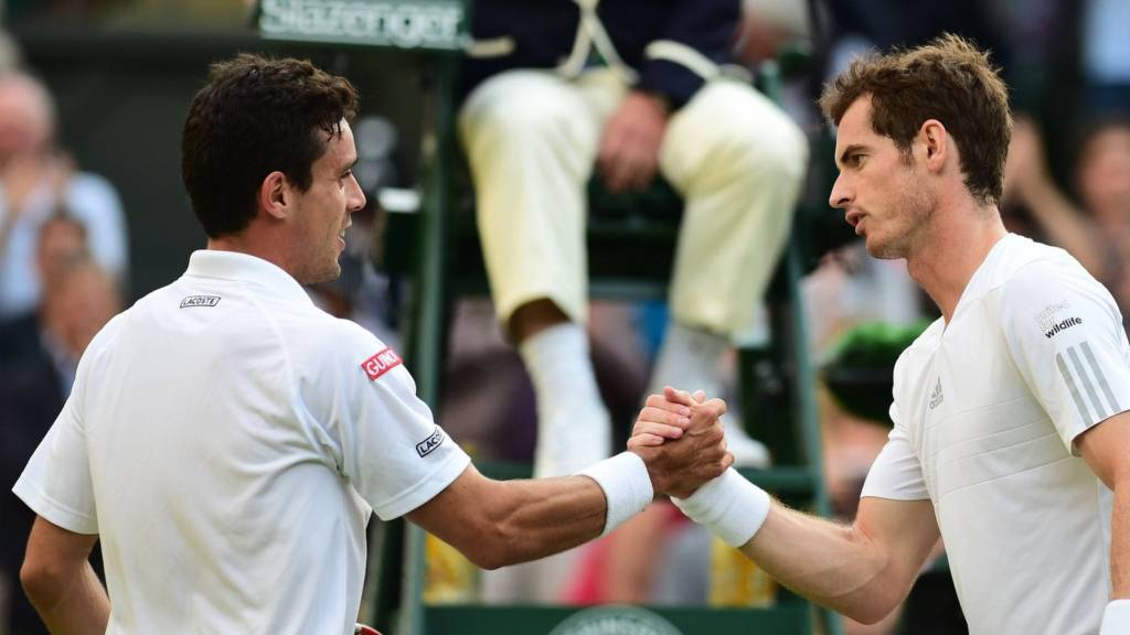 "Britain""s Andy Murray shakes hands with Spain""s Roberto Bautista Agut"