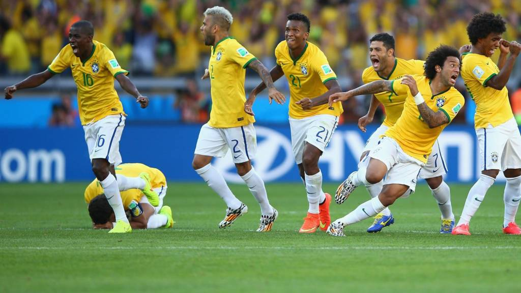 Brazil celebrate after winning their penalty shoot-out against Chile