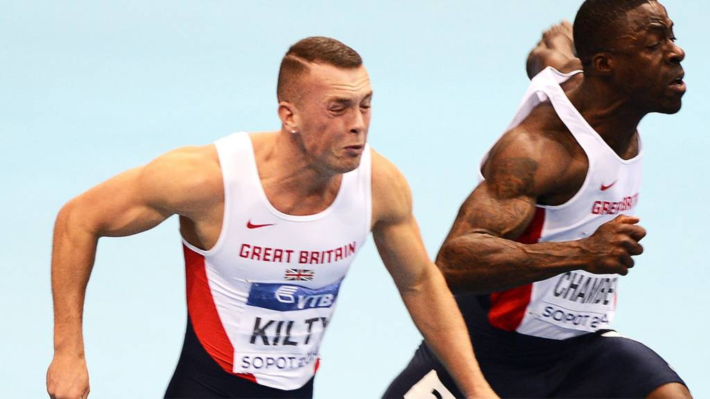 Richard Kilty and Dwain Chambers in 100m