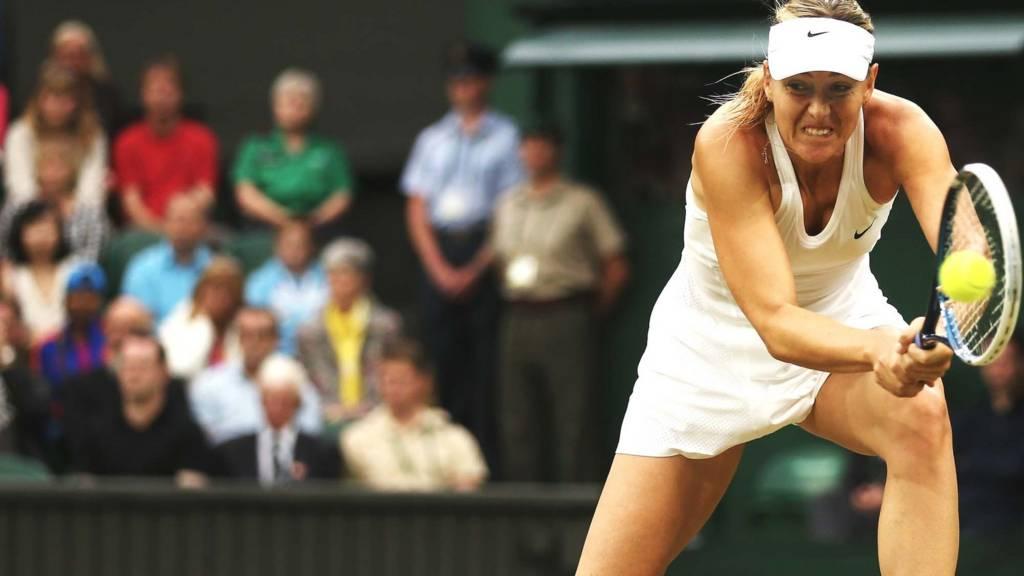 Sharapova hits a return durig a previous match
