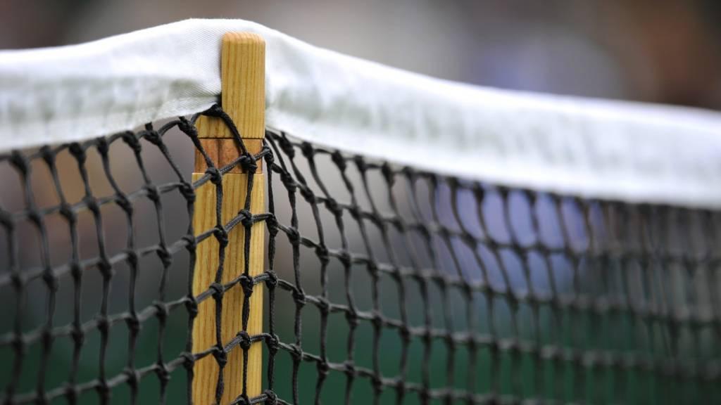 A close-up of a tennis net at Wimbledon
