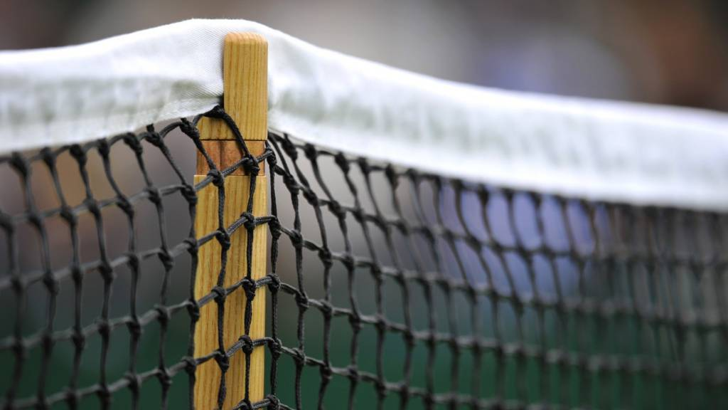 A close-up of a tennis net at Wimbledon