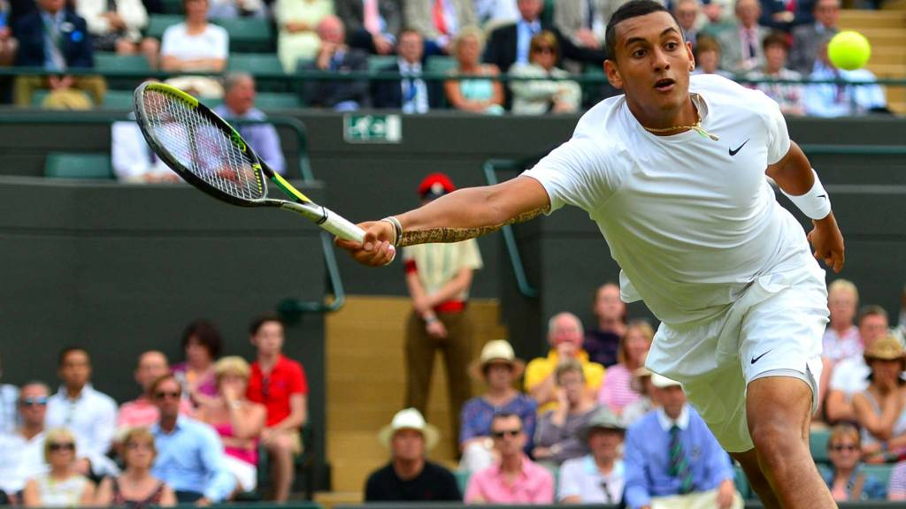 Australia's Nick Kyrgios returns