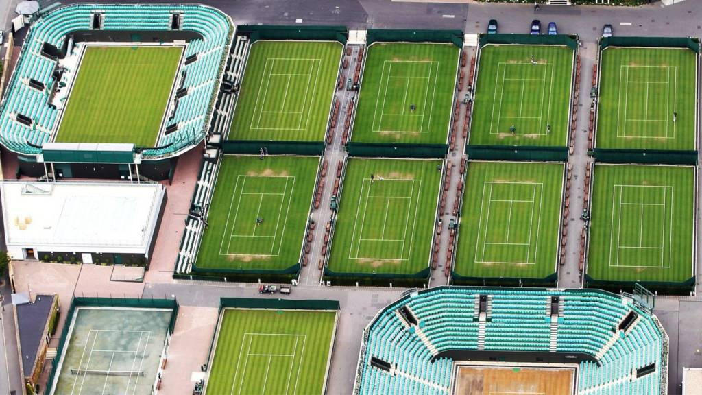 An aerial view of the grass courts at Wimbledon