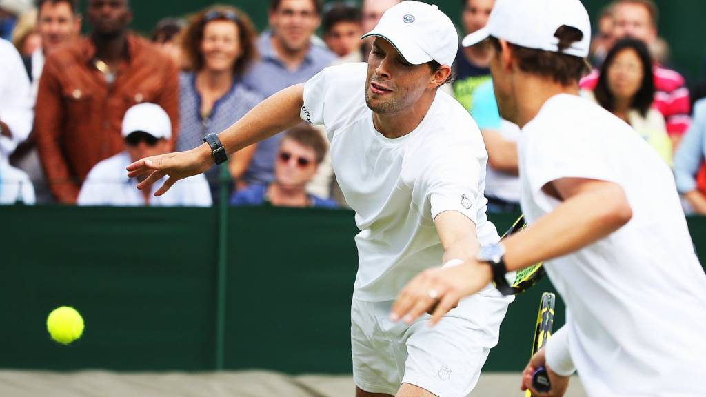 The Bryan brothers at Wimbledon 2014