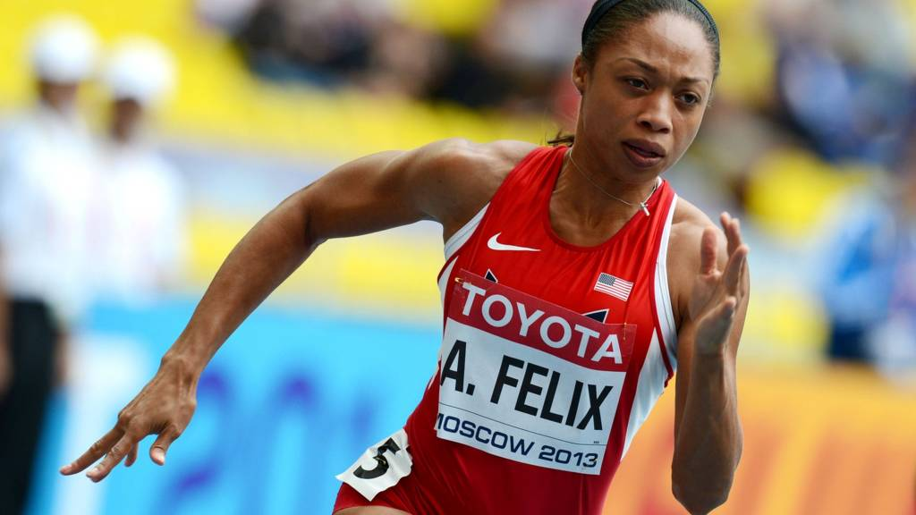 Allyson Felix running the 200m