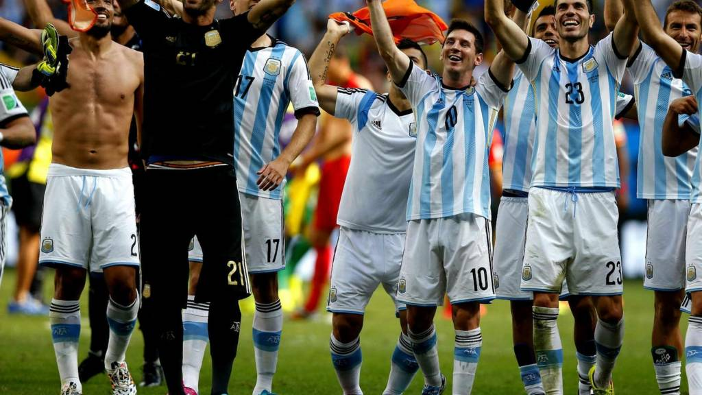 Lionel Messi celebrates Argentina's quarter-final win