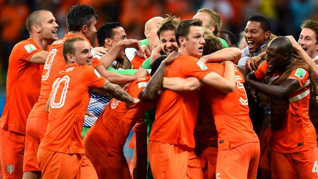 Netherlands celebrate their win over Costa Rica