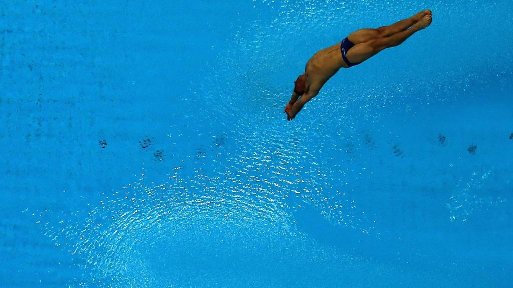 A diver is mid dive into a pool
