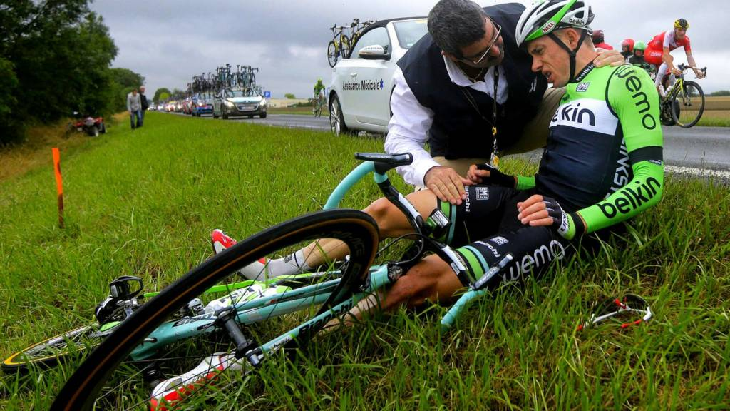 Dutch rider Stef Clement after his crash on stage seven of the Tour de France