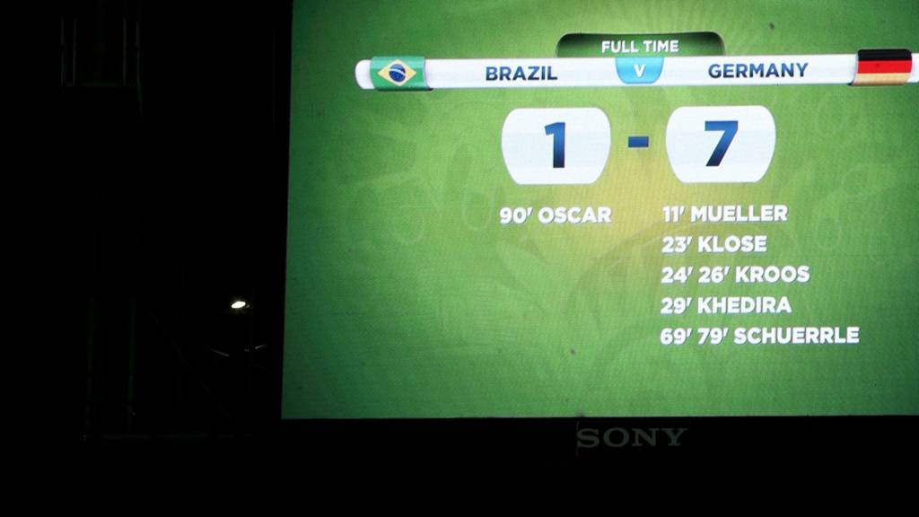 Scoreboard of Brazil 1-7 Germany