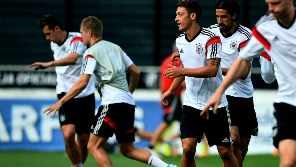 Germany midfielder Mesut Ozil in training ahead of the World Cup final