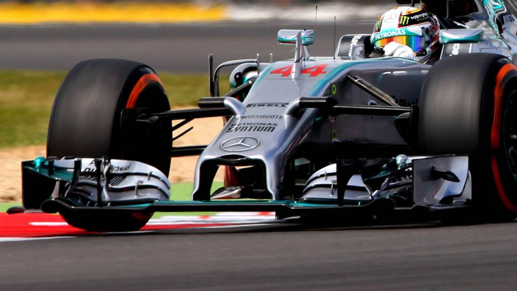 Lewis Hamilton racing in a Mercedes F1 car