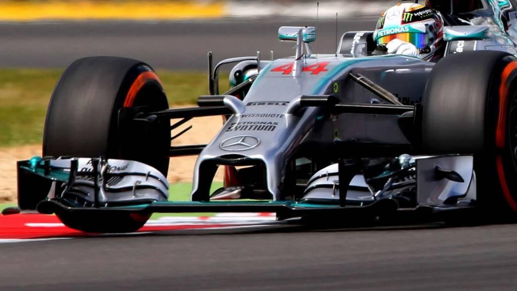 Lewis Hamilton racing in a Mercedes F1 car