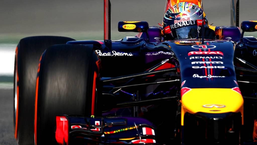 German driver Sebastian Vettel in his Red Bull F1 car