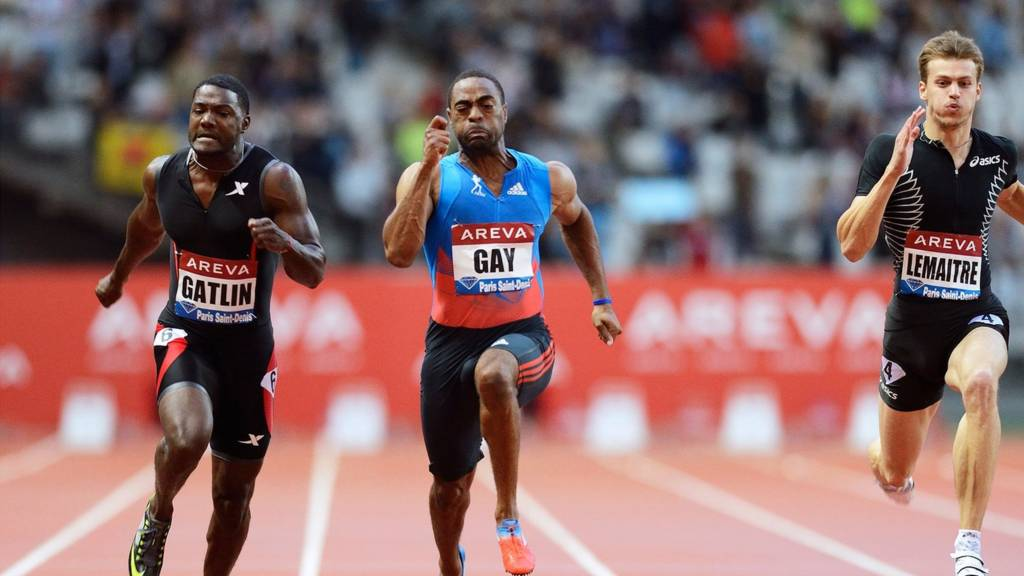 Justin Gatlin, Tyson Gay and Christopher Lemaitre compete in the Diamond League 200m