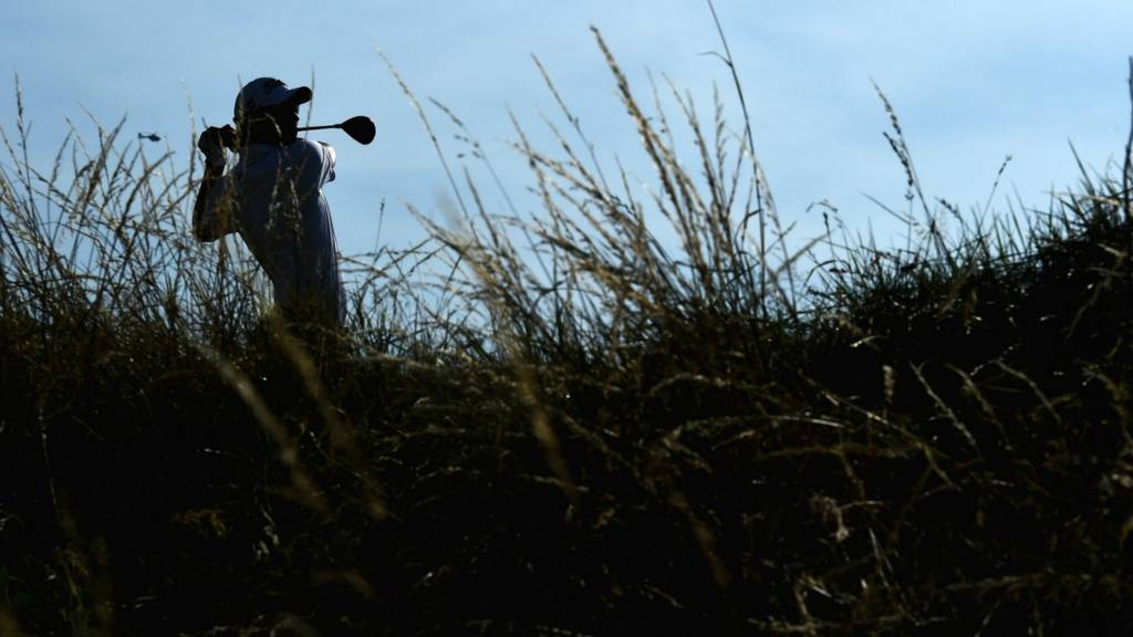 A golfer at the 2014 Open