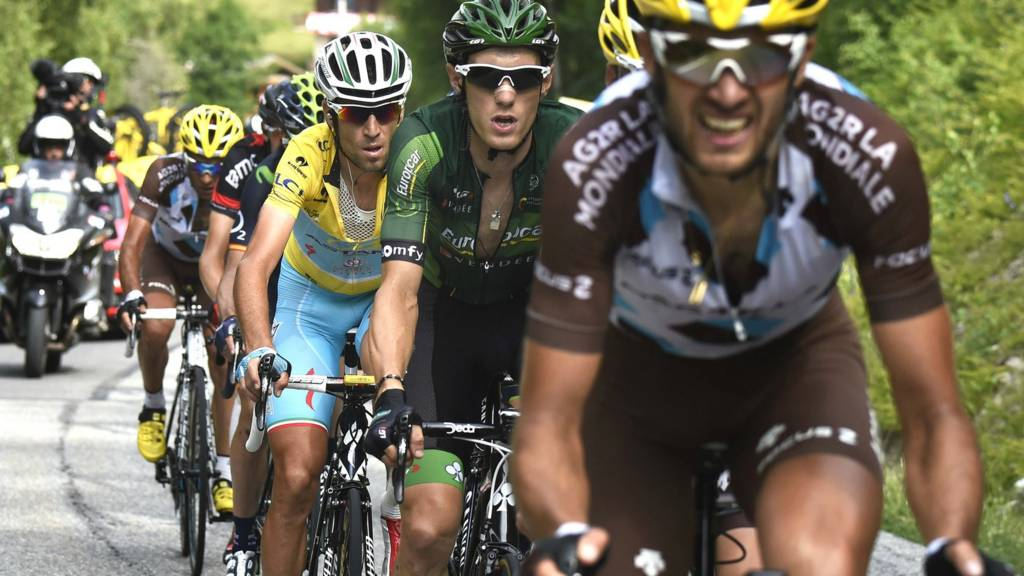 Italy's Vincenzo Nibali and France's Pierre Rolland tackling a mountain stage of the 2014 Tour de France.