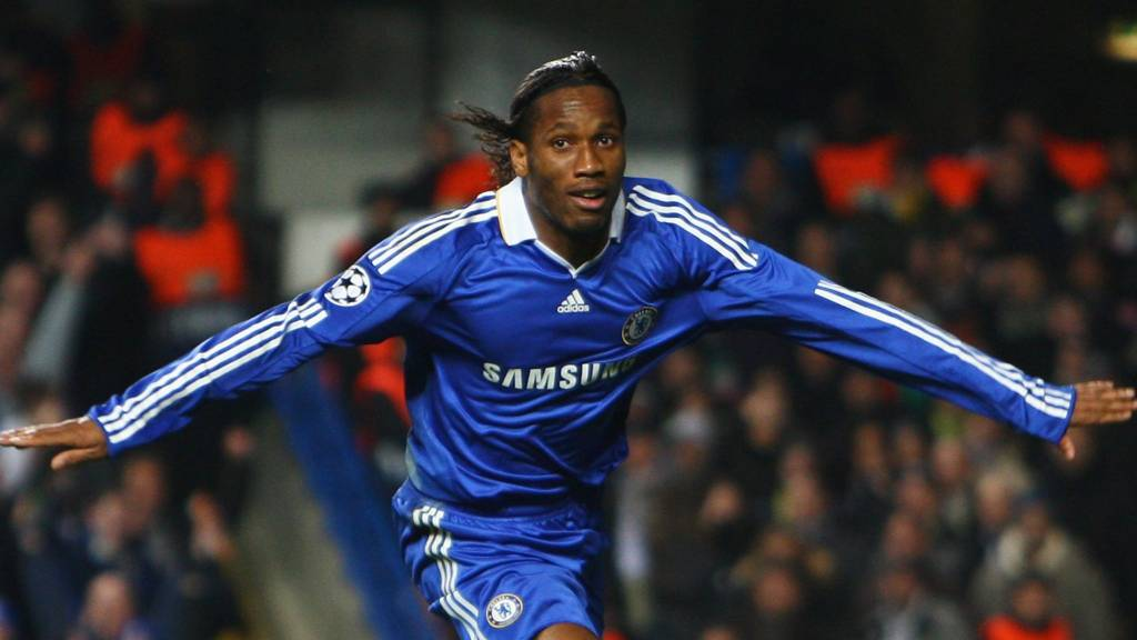 Didier Drogba with Champions League trophy
