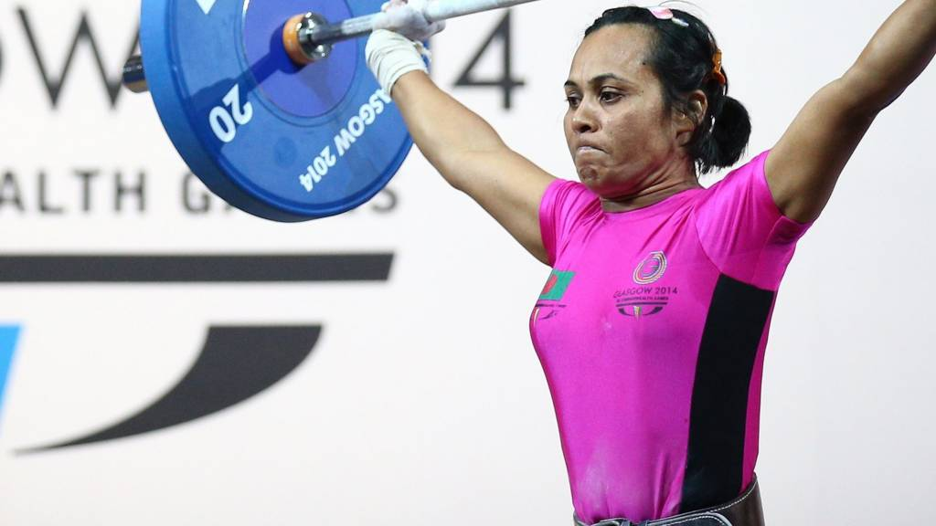 A bangledeshi weightlifter competes in Glasgow