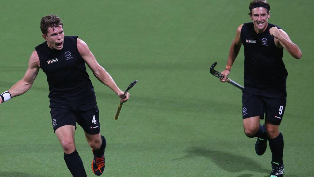 Nick Haig and Blair Hilton of New Zealand celebrate in their match against Canada