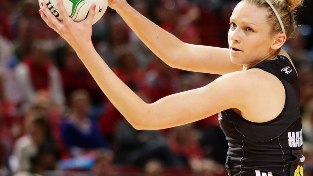 New Zealand's goal defence catches the ball in their first Commonwealth Games 2014 match