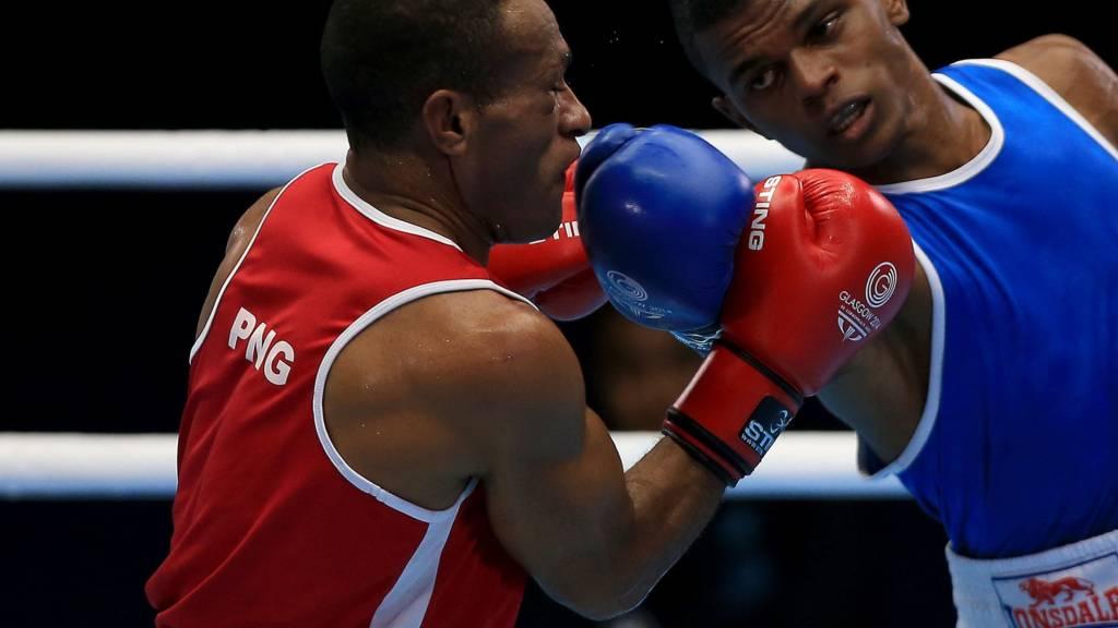Andrique Allisop in action against Papua New Guinea Tom Boga