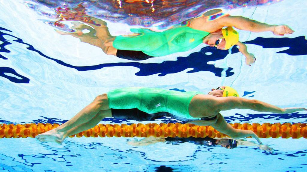 Australia's Belinda hocking and Emily Seebohm compete at the Tollcross International Swimming Centre