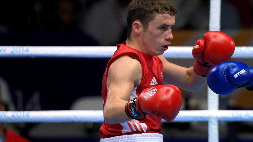 Scotland's Reece McFadden in the ring at the Commonwealth Games