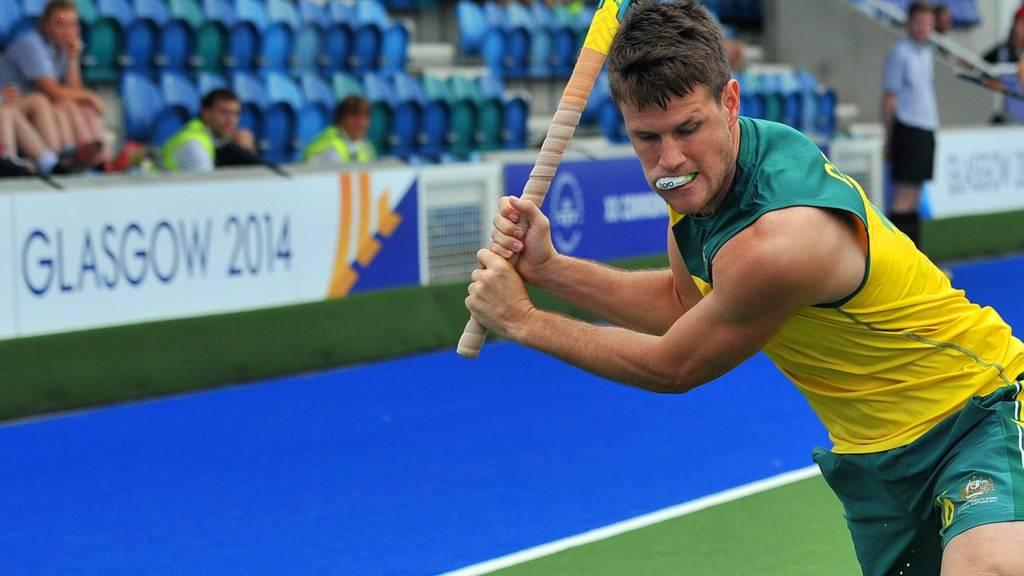Matt Gohdes of Australia chips the ball in