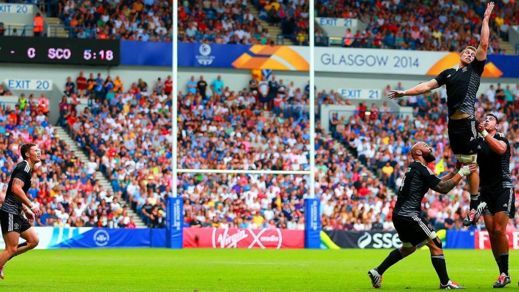 New Zealand's rugby seven's team in action at Ibrox