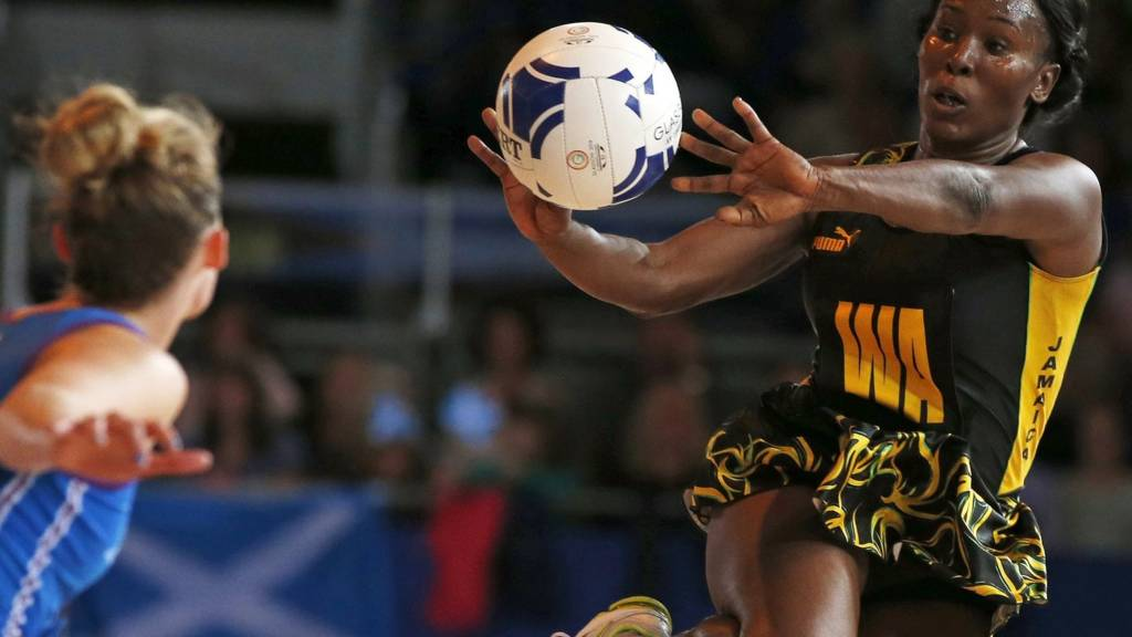 Jamaica's Sasher-Gaye Henry in action against Scotland at the Commonwealth Games