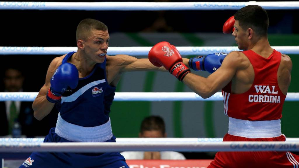 Wales' Joe Cordina and England's Pat McCormack in action