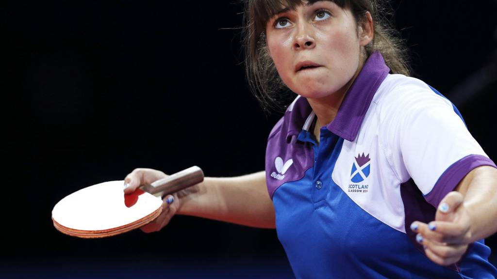 Lynda Flaws of Scotland in the table tennis