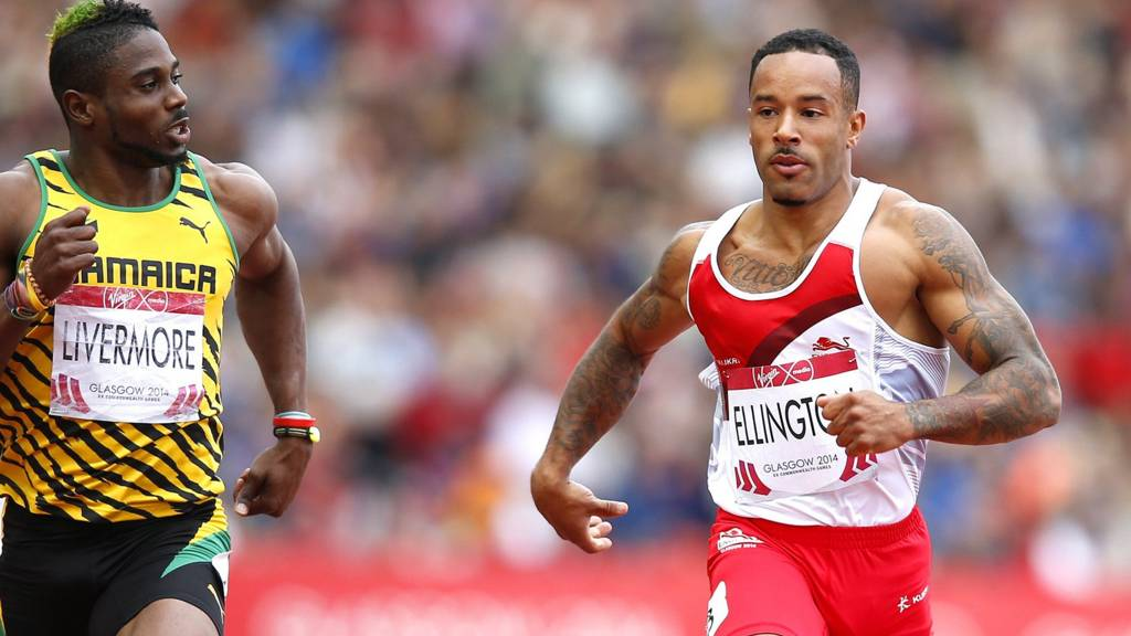 "amaica""s Jason Livermore and England""s James Ellington compete in the heats of the men's 200m"